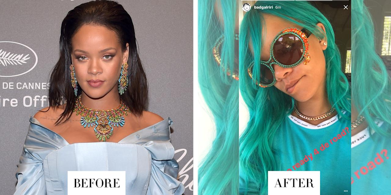 <p><strong>When: </strong>August 7, 2017</p><p><strong>What:</strong> Aqua Hair</p><p><strong>Why we love it: </strong>Rihanna just debuted an aqua blonde hair color that matched her sunglasses and tee shirt perfectly.</p>