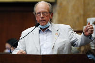 House Rules Committee Chairman Jerry Turner, R-Baldwyn ,explains why he supports the bill to change the Mississippi state flag, Sunday, June 28, 2020, at the Capitol in Jackson, Miss. The bill passed and goes on to the Senate. The current flag has in the canton portion a Confederate battle flag, that has been the center of a long-simmering debate about its removal or replacement. (AP Photo/Rogelio V. Solis)
