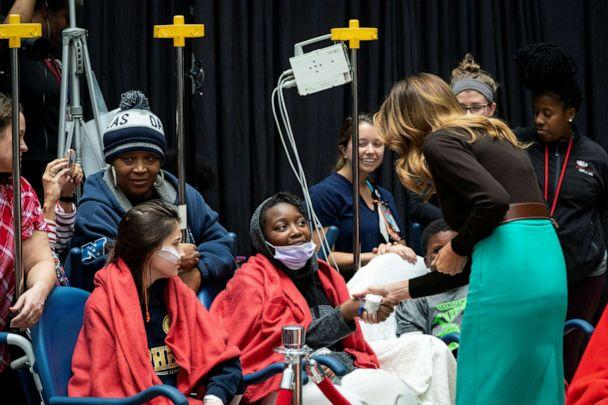 PHOTO: First lady Melania Trump greets patients during a visit to the Children's National Hospital, in Washington, Dec. 6, 2019. (Alexander Drago/Reuters)