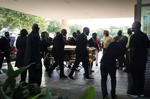 The body of George Floyd is brought into the Fountain of Praise church in Houston. (Mario Tama/Getty Images)