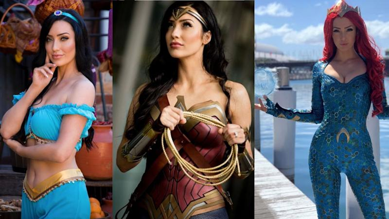 Composite image of Danijela Dacic (Miss Dani Cosplay) in three roles, Disney's Princess Jasmine, Wonder Woman and Aquaman's Mera.