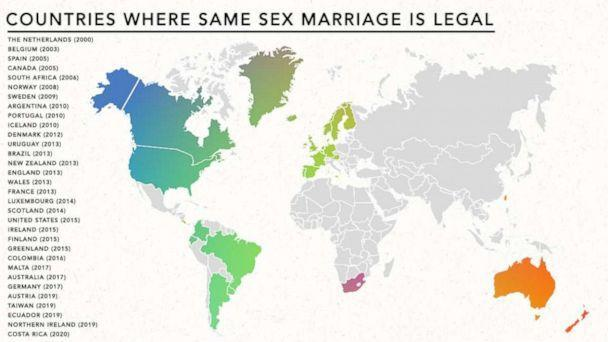 PHOTO: Countries where same sex marriage is legal (ABC News Photo Illustration )