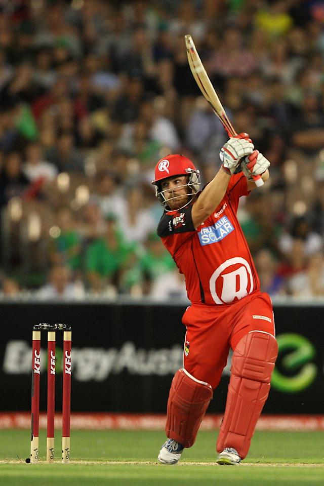 MELBOURNE, AUSTRALIA - JANUARY 06:  Aaron Finch of the Renegades plays a shot during the Big Bash League match between the Melbourne Stars and the Melbourne Renegades at Melbourne Cricket Ground on January 6, 2013 in Melbourne, Australia.  (Photo by Robert Prezioso/Getty Images)