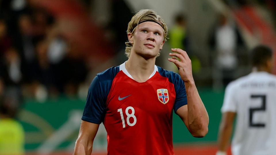 INGOLSTADT, GERMANY - OCTOBER 12: Erling Braut Haland of Norway looks dejected during the 2019 UEFA Under21 European Championship Qualifier match between U21 Germany and U21 Norway at Audi Sportpark on October 12, 2018 in Ingolstadt, Germany. (Photo by TF-Images/Getty Images)