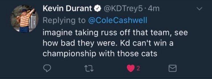 Kevin Durant apparently wasn't a huge fan of Serge Ibaka, Steven Adams and company. (Twitter)
