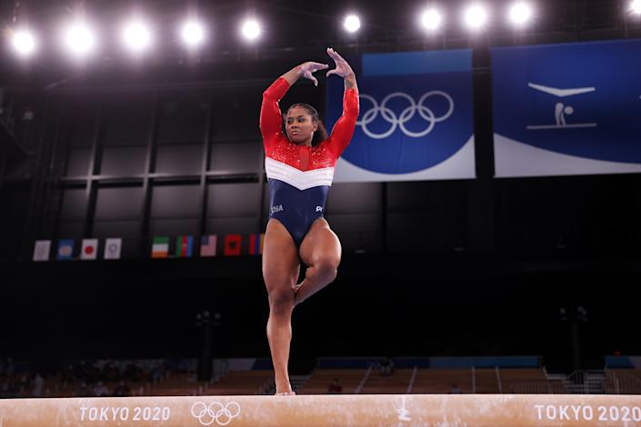 <p>TOKYO, JAPAN - JULY 27: Jordan Chiles of Team United States competes on balance beam during the Women's Team Final on day four of the Tokyo 2020 Olympic Games at Ariake Gymnastics Centre on July 27, 2021 in Tokyo, Japan. (Photo by Laurence Griffiths/Getty Images)</p>