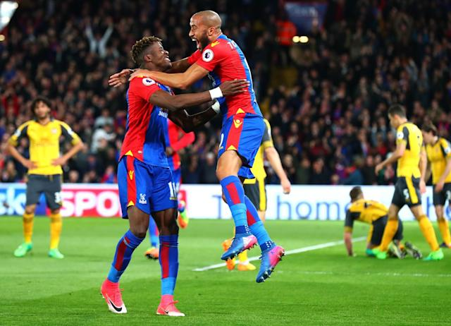 <p>Palace celebrate going 1-0 up</p>