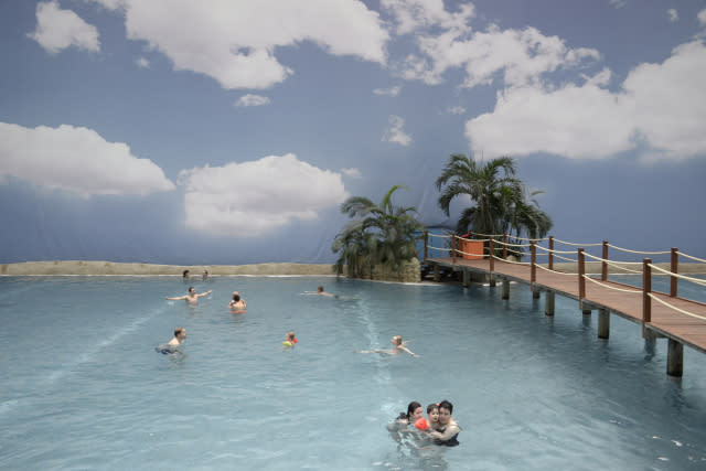 The sea at Tropical Islands is the size of three Olympic swimming pools and the water is an inviting 28 °C. .