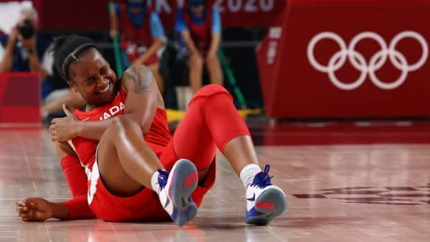 Shay Colley suffered an injury to her right shoulder during Canada's loss to Serbia at the women's basketball tournament at the Tokyo Olympics. (Brian Snyder/Reuters - image credit)