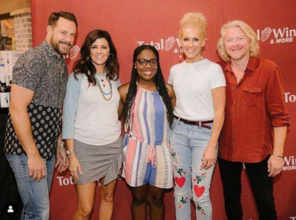 PHOTO: Rachel is shown with members of the band of Little Big Town. (Courtesy Rachel Berry)