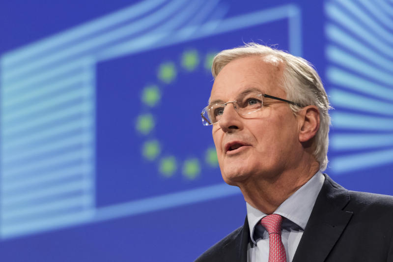 European Union chief Brexit negotiator Michel Barnier addresses the media on Brexit at EU headquarters in Brussels on Friday Feb. 9, 2018. The EU and Britain conducted a seventh round of Brexit negotiations on Friday. (Photo/Geert Vanden Wijngaert)