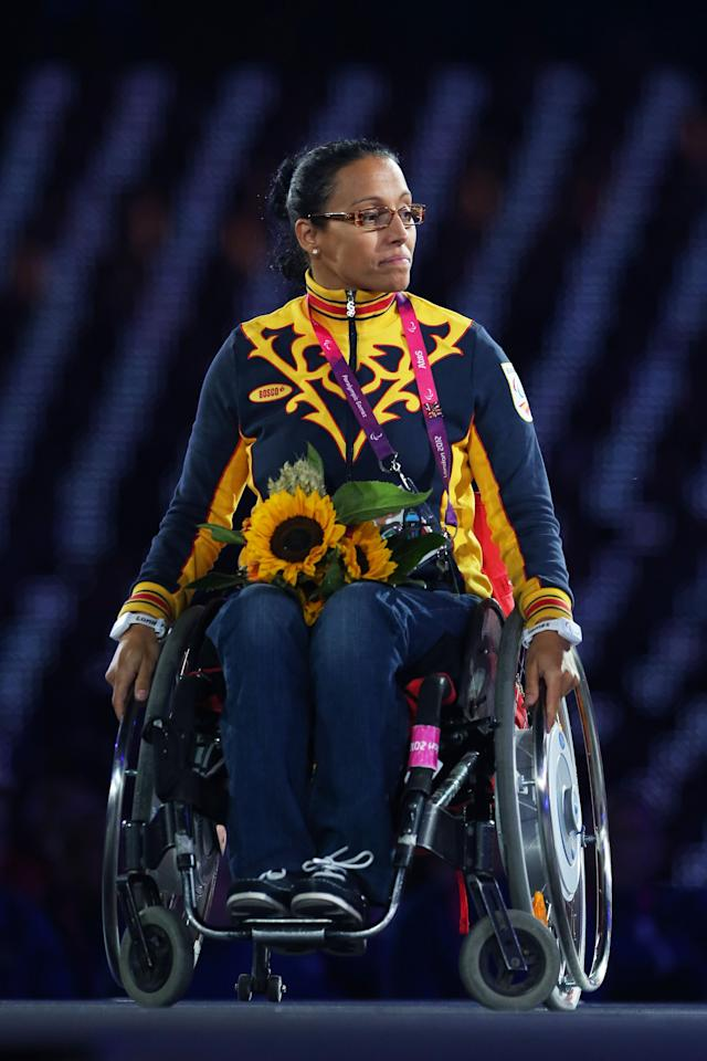 LONDON, ENGLAND - SEPTEMBER 09: Newly elected member of the IPC Council Teresa Perales of Spain looks on during the closing ceremony on day 11 of the London 2012 Paralympic Games at Olympic Stadium on September 9, 2012 in London, England. (Photo by Peter Macdiarmid/Getty Images)