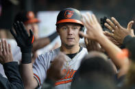 Baltimore Orioles' Ryan Mountcastle is congratulated after his two-run home run in the fifth inning of the team's baseball game against the Cleveland Indians, Wednesday, June 16, 2021, in Cleveland. (AP Photo/Tony Dejak)