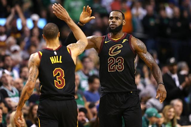 LeBron James put on another epic game-seven performance by rallying the Cavaliers to an 87-79 win over Boston for the team's fourth straight NBA final and his eighth consecutive final (AFP Photo/Maddie Meyer)