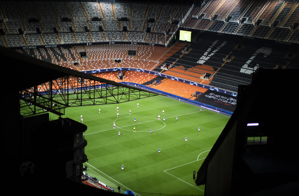 In this Tuesday March 10, 2020 file photo a general view of the Mestalla stadium during the Champions League round of 16 second leg soccer match between Valencia and Atalanta in Valencia, Spain.
