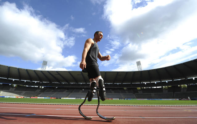 Oscar Pistorius of South Africa walks off the track during a training session, ahead the upcoming Memorial Van Damme, IAAF Diamond League athletics meet, at the King Bauduin stadium in Brussels September 13, 2011. REUTERS/Laurent Dubrule (BELGIUM - Tags: SPORT ATHLETICS TPX IMAGES OF THE DAY) - RTR2R8FV