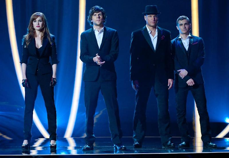"""This film image released by  Summit Entertainment shows, from left, Isla Fisher, Jesse Eisenberg, Woody Harrelson and Dave Franco in a scene from """"Now You See Me."""" (AP Photo/ Summit Entertainment, Barry Wetcher)"""