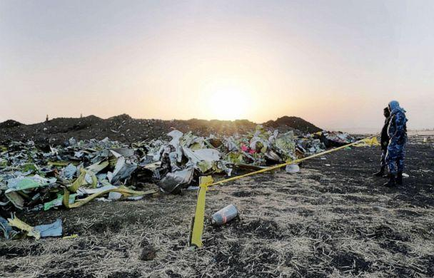 PHOTO: Debris lays piled up just outside the impact crater at the crash site of Ethiopian Airlines flight 302 in Bishoftu, Ethiopia, March 11, 2019. (Jemal Countess/Getty Images, FILE)