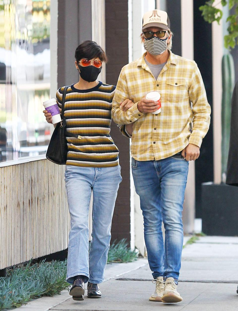 <p>Selma Blair and her boyfriend Ron Carlson stroll arm-in-arm while out for coffee on Tuesday in L.A.</p>