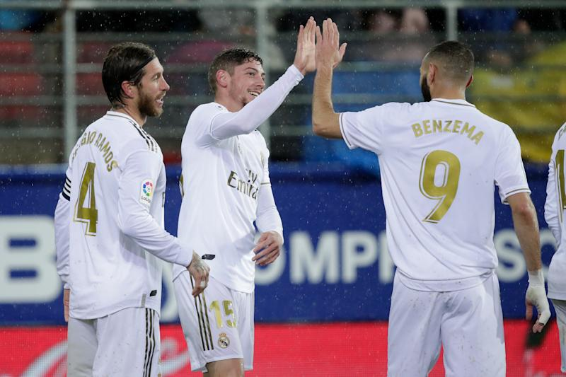 EIBAR, SPAIN - NOVEMBER 9: Federico Valverde of Real Madrid celebrates 0-4 with Sergio Ramos of Real Madrid, Karim Benzema of Real Madrid during the La Liga Santander match between Eibar v Real Madrid at the Estadio Municipal de Ipurua on November 9, 2019 in Eibar Spain (Photo by David S. Bustamante/Soccrates/Getty Images)