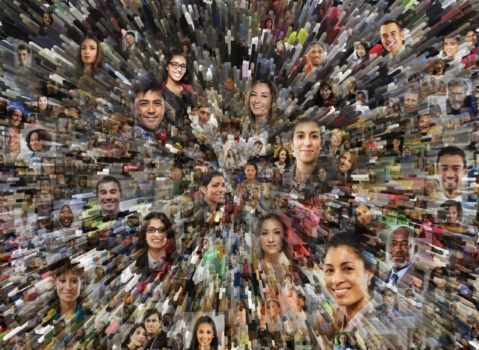 Social media portraits combined with zooming pillars creates a big data and social media concept photo.