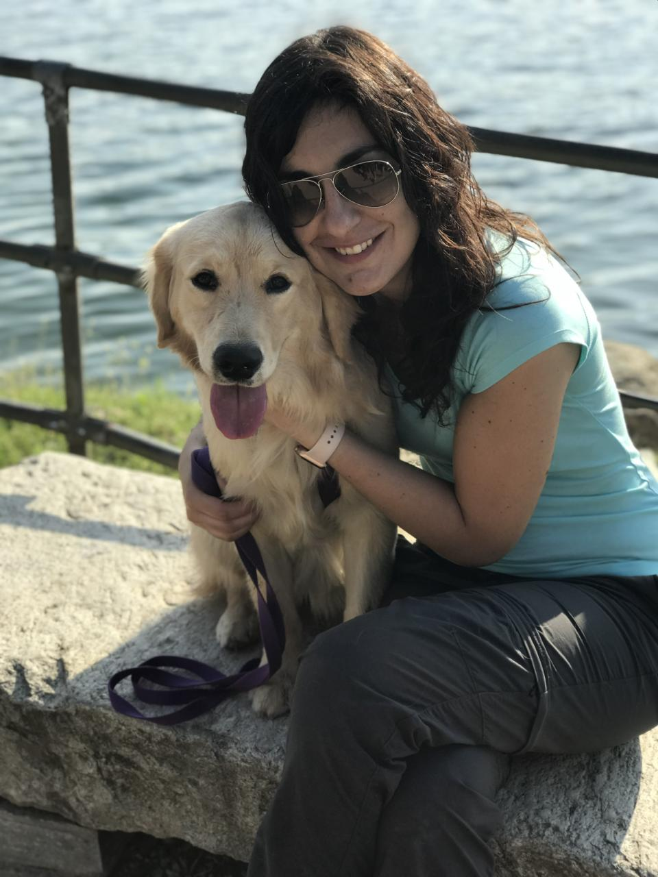 Valentina Crudo-Josefosky, an emergency and internal medicine doctor at a hospital near Turin, Italy, tells Yahoo Lifestyle that her dog, Waffle, has helped her deal with anxiety and sadness during the coronavirus pandemic. (Credit: Photo courtesy Valentina Crudo-Josefosky)