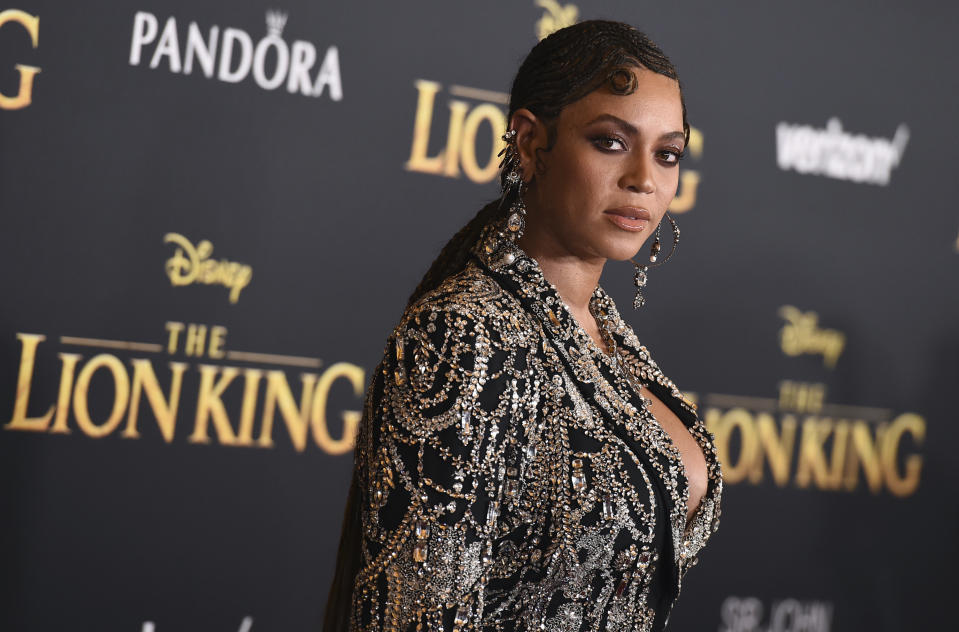 """Beyonce arrives at the world premiere of """"The Lion King"""" on Tuesday, July 9, 2019, at the Dolby Theatre in Los Angeles. (Photo by Jordan Strauss/Invision/AP)"""