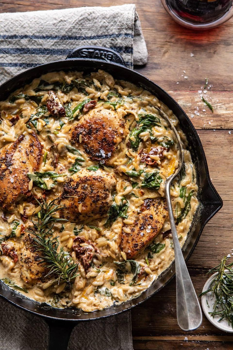 "<p>Quick, easy, and filling, this creamy chicken and orzo dish will be a fan favorite in no time. With pan-seared Italian seasoned chicken breasts that are cooked in a creamy sun-dried tomato and spinach sauce, you'll be inclined to lick your plate to make sure you get every last bite.</p> <p><strong>Get the recipe</strong>: <a href=""https://www.halfbakedharvest.com/one-skillet-creamy-sun-dried-tomato-chicken-and-orzo/"" class=""link rapid-noclick-resp"" rel=""nofollow noopener"" target=""_blank"" data-ylk=""slk:one skillet creamy sun-dried tomato chicken and orzo"">one skillet creamy sun-dried tomato chicken and orzo</a></p>"