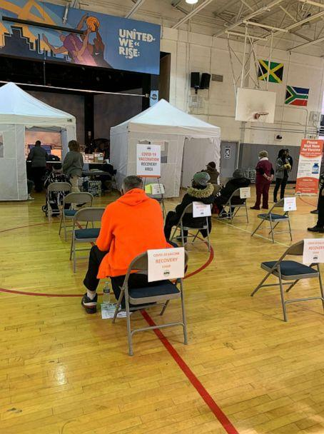 PHOTO: Bronx Rising Initiative's mobile vaccination unit inside the NYCHA Bronx River Community Center, where seniors who have been vaccinated sit in recovery chairs to ensure they do not suffer any adverse effects from the vaccine. (Bronx Rising Initiative)