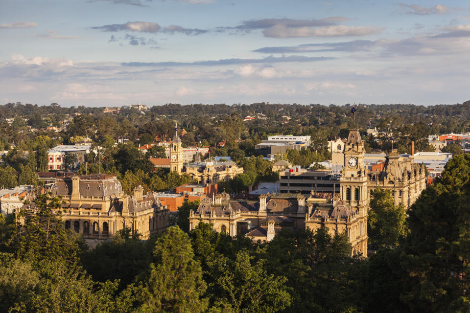 Australia, Victoria, VIC, Bendigo, Town Hall and Shamrock Hotel, elevated view, sunset