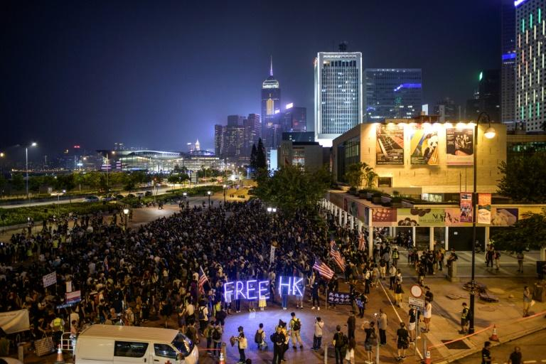 A prayer rally in support of Hong Kong pro-democracy protesters, on the eve of a march planned for Sunday October 20, 2019 despite lack of permission from police