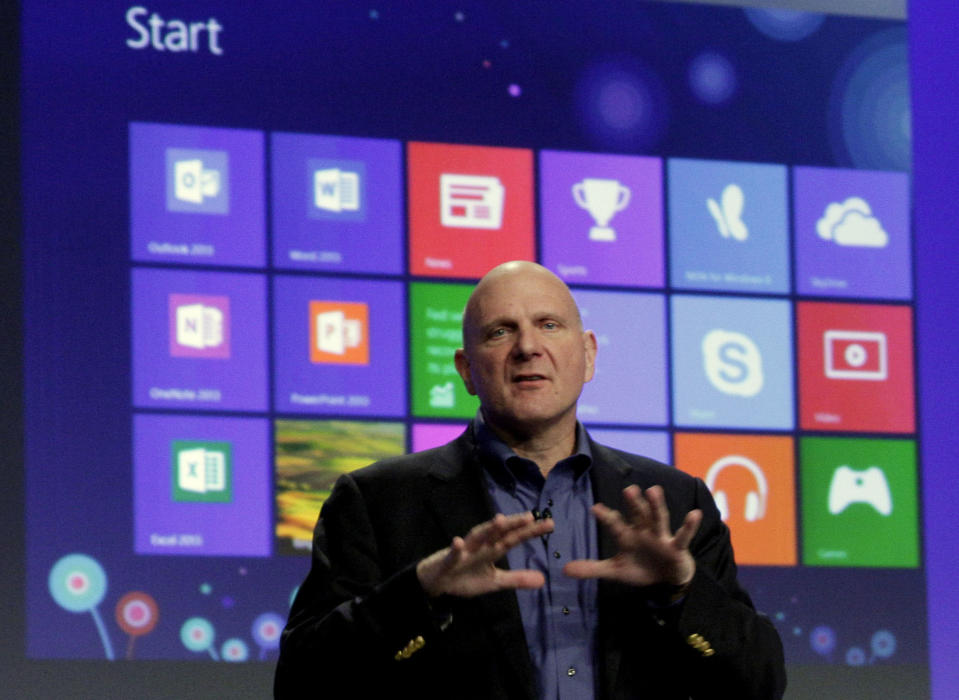 <p> Microsoft CEO Steve Ballmer gives his presentation at the launch of Microsoft Windows 8, in New York, Thursday, Oct. 25, 2012. Windows 8 is the most dramatic overhaul of the personal computer market's dominant operating system in 17 years. (AP Photo/Richard Drew) </p>