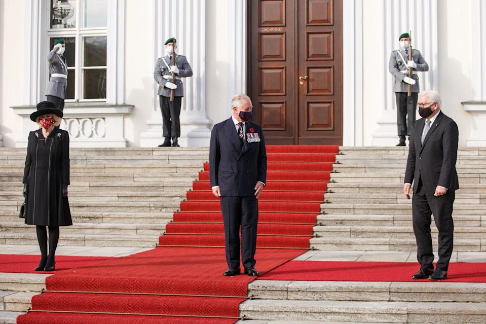 <p>Prince Charles and Camila, Duchess of Cornwall, meet President Frank-Walter Steinmeier of Germany on Sunday at Schloss Bellevue in Berlin.</p>