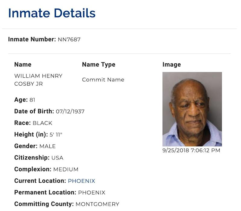 Bill Cosby, aka inmate NN7687, has been incarcerated since September. (Screenshot: Pennsylvania Department of Corrections)