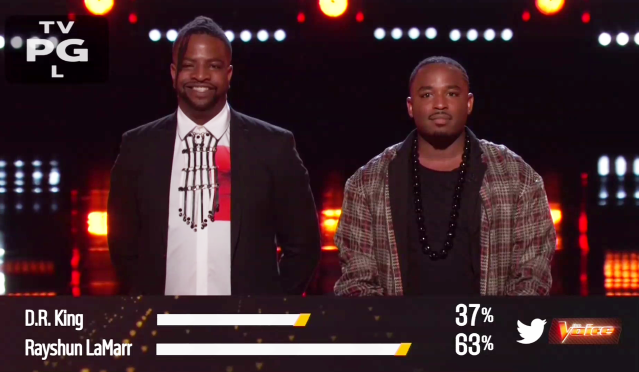 D.R. King and Rayshun LaMarr land in the bottom two on <em>The Voice</em>. (Photo: NBC)