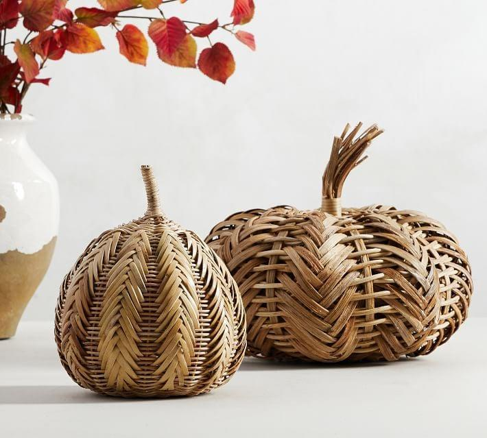 <p>Sure, everyone decorates with pumpkins in October. But do they have these cool <span>Handwoven Rattan Pumpkins</span> ($30-$40)? Probably not.</p>