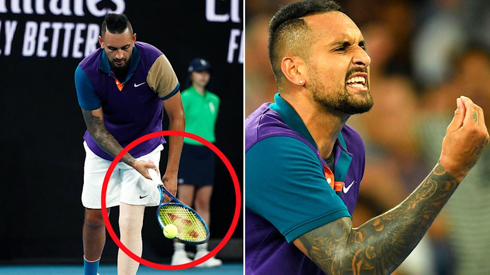 Nick Kyrgios can be seen here dropping an underarm serve against Dominic Thiem.
