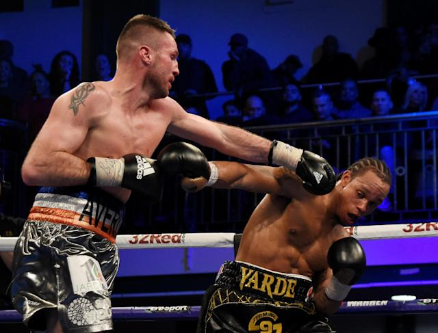 Boxing - Anthony Yarde vs Tony Averlant - WBO Inter-Continental & European Light-Heavyweight Titles - York Hall, Bethnal Green, London, Britain - February 24, 2018 Anthony Yarde in action with Tony Averlant Action Images via Reuters/Adam Holt