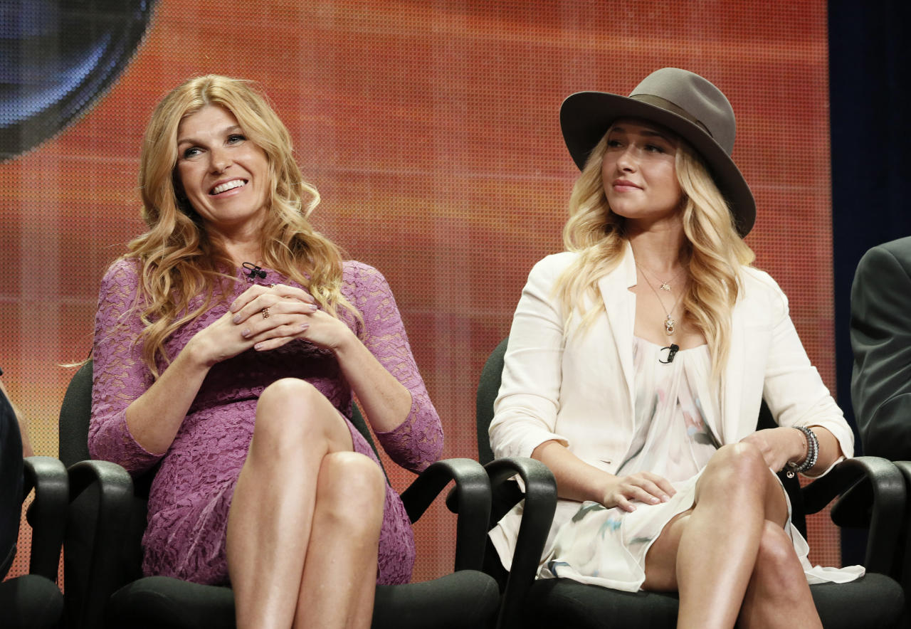 "FILE - In this July 27, 2012 file photo, cast members Connie Britton and Hayden Panettiere attend the ""Nashville"" panel at the Disney ABC TCA in Beverly Hills, Calif. The country music series ""Nashville"" will return for its sixth and final season in January, ending a show that had to handle the jump to another network and the loss of a key star. Cancelled by ABC after four seasons, ""Nashville"" jumped to CMT but creators are now pulling the plug after more than 120 episodes, citing ""creative"" reasons. (Photo by Todd Williamson/Invision/AP, File)"