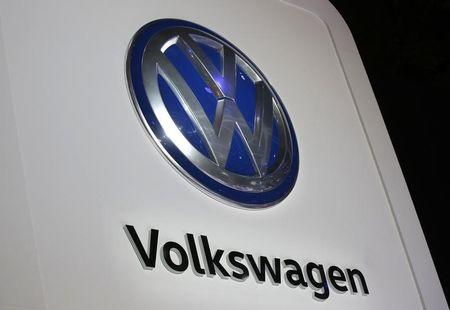 The Volkswagen logo is seen at the company's display during the North American International Auto Show in Detroit