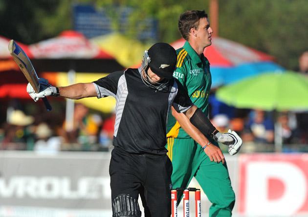 Nathan McCullum of New Zealand loses his wicket for 19 runs during the 2nd One Day International match between South Africa and New Zealand at De Beers Diamond Oval on January 22, 2013 in Kimberley, South Africa.(Photo by Duif du Toit/Gallo Images/Getty Images)