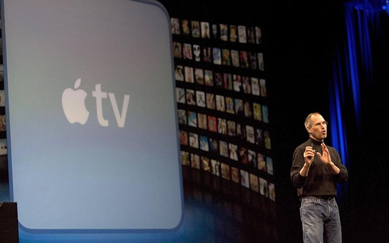 Steve Jobs launches the 2007 Apple TV - Getty