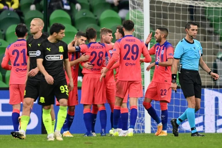 Chelsea struck three late goals to condemn Krasnodar to a heavy defeat