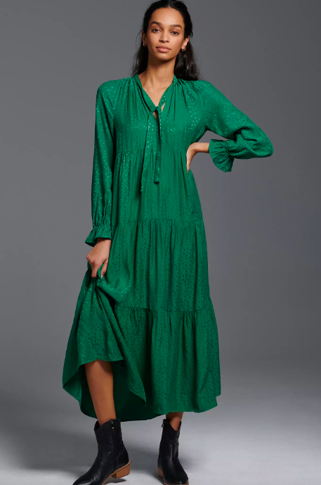 Wendy Tiered Maxi Dress. Image via Anthropologie.