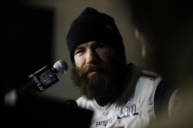 New England Patriots wide receiver Julian Edelman speaks with members of the media during a news conference Thursday, Jan. 31, 2019, ahead of the NFL Super Bowl 53 football game against Los Angeles Rams in Atlanta. (AP Photo/Matt Rourke)