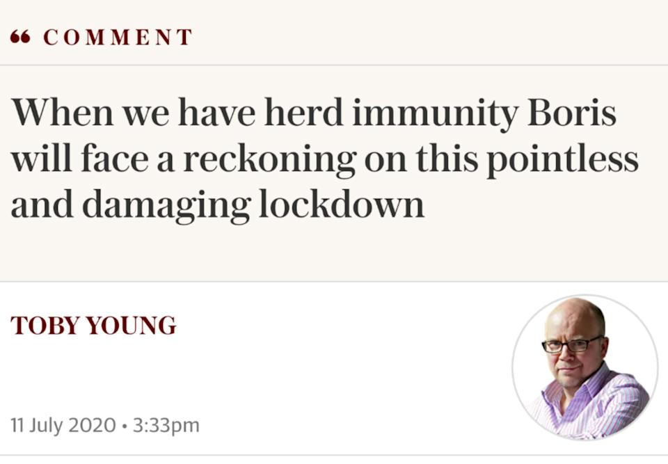 <strong>Toby Young has been among the most vocal critics of measures introduced to curb the spread of the outbreak.</strong> (Photo: Telegraph)