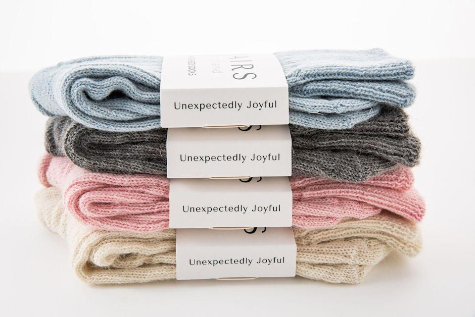 """<p>Made in Britain using sustainably sourced alpaca and mohair, Pairs Scotland's socks are knitted and hand-finished by dedicated experts in a traditional mill. Incredibly durable and wonderfully soft, they're ideal for cosy winter nights, and you can even choose to have them gift-wrapped. AD</p><p>£30 a pair, <a href=""""https://www.pairs-scotland.co.uk/shop/alpaca-bed-socks"""" rel=""""nofollow noopener"""" target=""""_blank"""" data-ylk=""""slk:Pairs Scotland"""" class=""""link rapid-noclick-resp"""">Pairs Scotland</a></p>"""