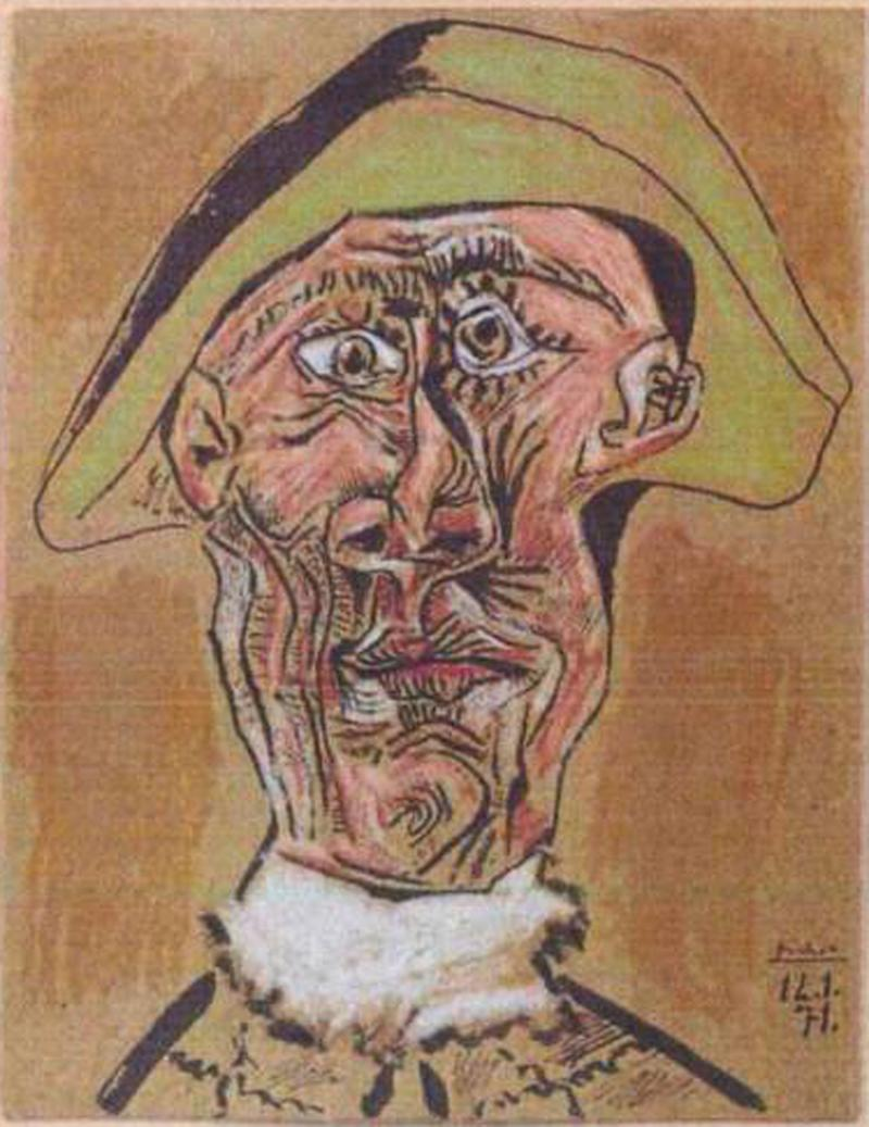 File - This photo released by the police in Rotterdam, Netherlands, on Tuesday, Oct. 16, 2012, shows the 1971 painting 'Harlequin Head' by Pablo Picasso. Romanian authorities have arrested three suspects in last year's multimillion euro (dollar) theft of paintings by Picasso, Matisse, Monet and others from a Netherlands art gallery, Dutch police said Tuesday, Jan. 22, 2013, but the stolen works have not been recovered. The seven pieces were swiped by thieves in October in a late night raid at the Kunsthal gallery in downtown Rotterdam. It was the biggest art theft in more than a decade in the Netherlands. The stolen works have an estimated value of tens of millions of dollars if they were sold at auction, but art experts said that would be impossible following the theft. (AP Photo / Police Rotterdam, File)
