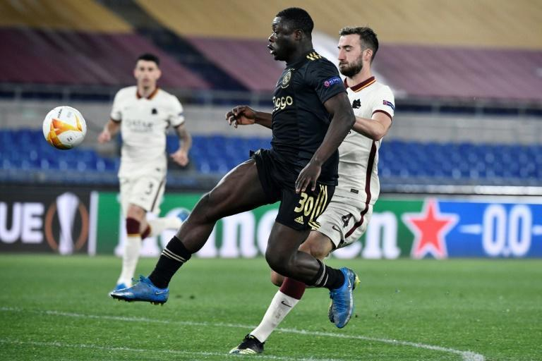 Ajax forward Brian Brobbey (C) scored four minutes after coming off the bench in Rome.