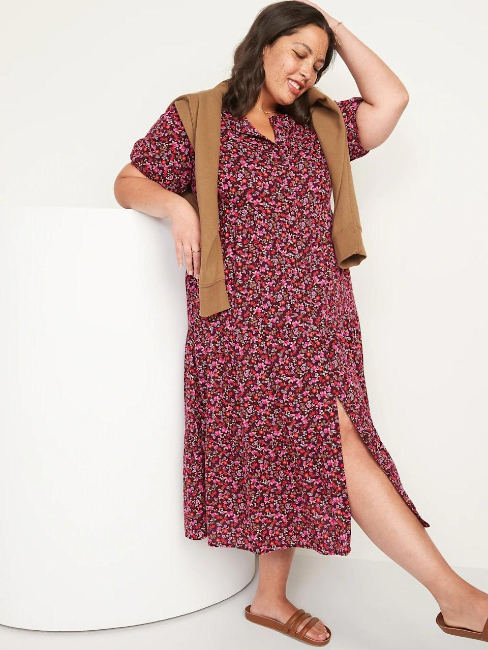 <p>We love the look of the <span>Floral Puff-Sleeve Button-Front Midi Swing Dress for Women</span> ($45) with a few buttons undone. </p>